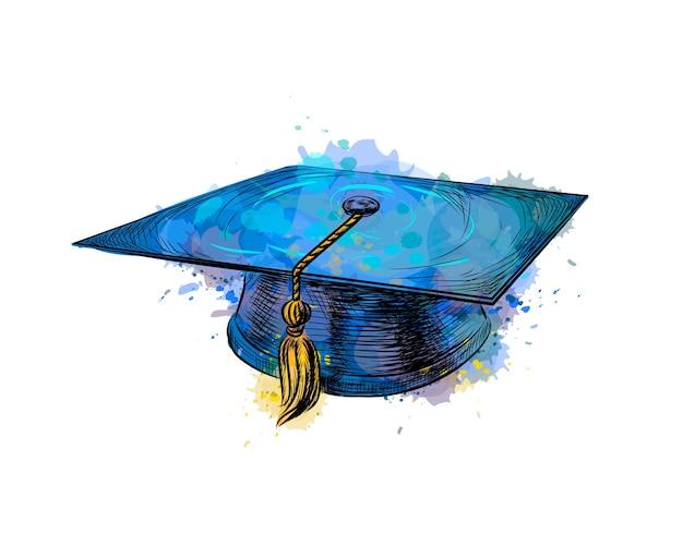 Tappo di laurea, berretto accademico quadrato da una spruzzata di acquerello, schizzo disegnato a mano. illustrazione di vernici