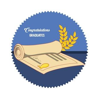 Carta di laurea con l'icona di diploma