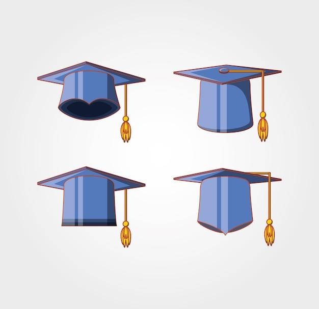 Carta di laurea con l'icona di cappelli