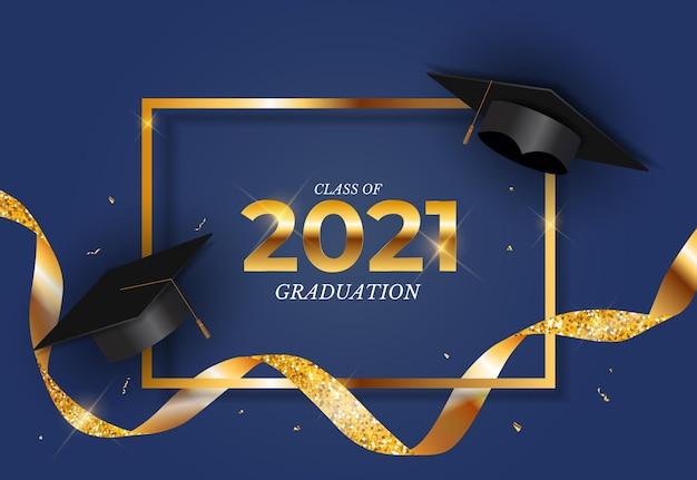 Classe di laurea del 2021 con cappello da laurea e coriandoli