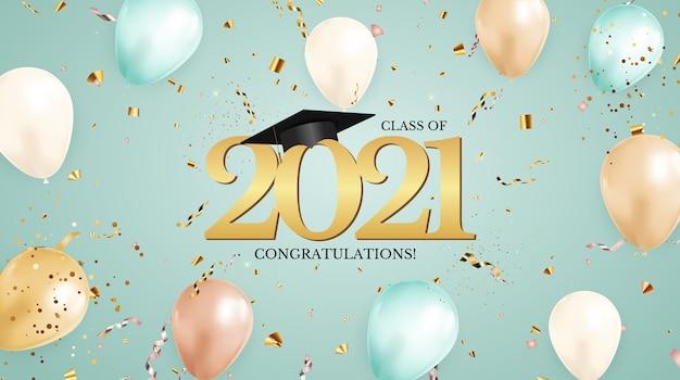 Classe di laurea del 2021 con cappello berretto da laurea e coriandoli