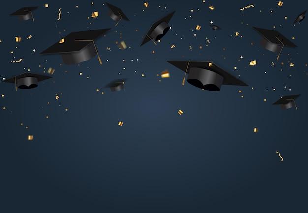Fondo blu del partito della classe di laurea con cappello e coriandoli della protezione di graduazione