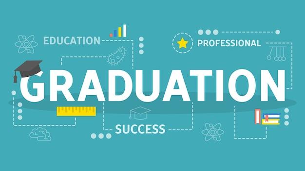 Concetto di laurea. idea di educazione e conoscenza