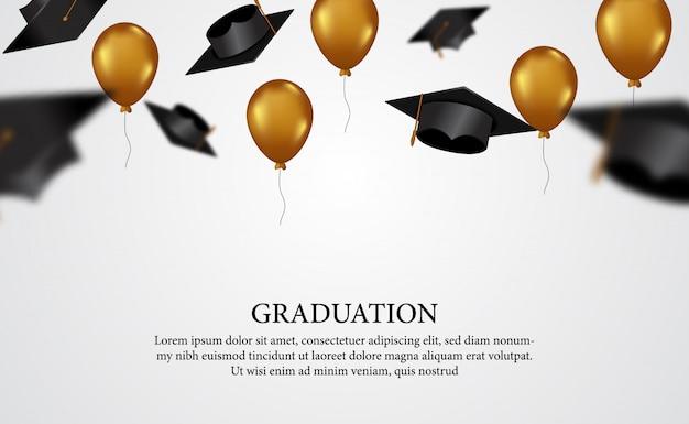 Il concetto di graduazione con i cappucci si inclina con l'aerostato dorato volante per il diploma dell'accademia