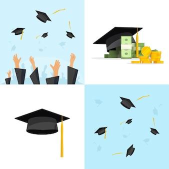 Concetto di laurea con berretti volanti e cappelli idea di guadagni per il conseguimento delle tasse scolastiche