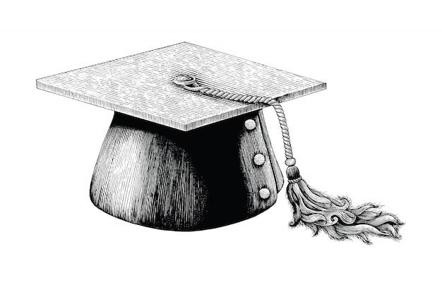 Mano del cappello di graduazione che disegna l'illustrazione d'annata dell'incisione