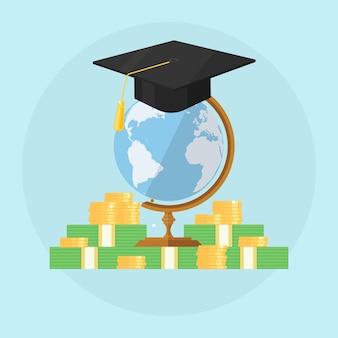 Cappello di laurea con una pila di soldi e globo.