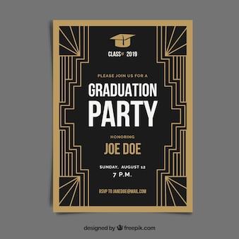 Modello di invito di laurea con stile dorato