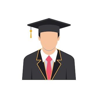 Modello di progettazione dell'illustrazione dell'icona dell'uomo di laurea