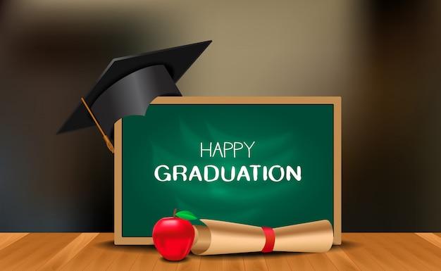 Cerimonia della festa di laurea con cappello di laurea con lavagna