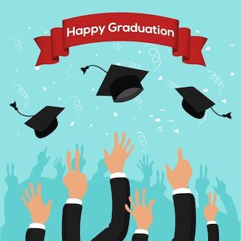 Modello di festa di laurea con tappi di laurea gettato in aria su sfondo blu.