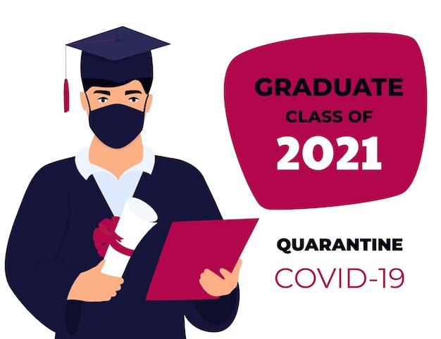 Classe di cerimonia virtuale di laurea del 2021. uno studente con una maschera protettiva tiene un diploma