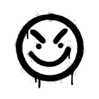 Graffiti faccia arrabbiata emoticon spruzzato isolati su sfondo bianco. illustrazione vettoriale.