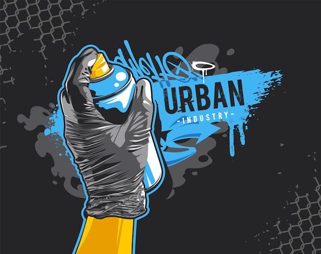 Banner di graffiti con la mano in un guanto nero che tiene la bomboletta spray. elementi di design di arte di strada. arte vettoriale di graffiti in stile selvaggio sporco.