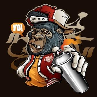 Gorilla del carattere dei graffiti che tiene una vernice di spruzzo