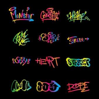 Elementi di graffiti nel vettore isolato