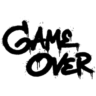 Gioco di graffiti su word spruzzato isolato su sfondo bianco. gioco spruzzato su graffiti di caratteri. illustrazione vettoriale.