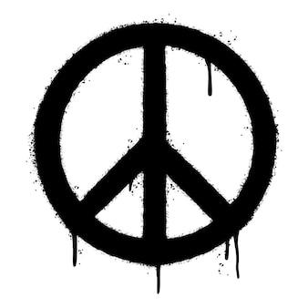Simbolo di pace dei graffiti spruzzato isolato su priorità bassa bianca. illustrazione vettoriale.