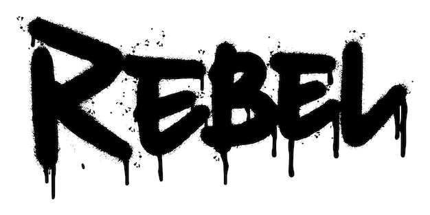 Parola ribelle dei graffiti spruzzata isolata su fondo bianco. graffiti di carattere ribelle spruzzati. illustrazione vettoriale.