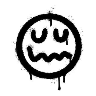 Graffiti spaventoso emoticon viso malato spruzzato isolato su sfondo bianco. illustrazione vettoriale.
