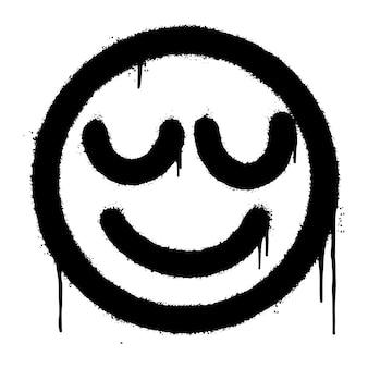 Graffiti sorridente emoticon spruzzato isolato su sfondo bianco. illustrazione vettoriale.