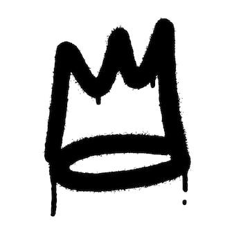 Graffiti spray corona icona con over spray in nero su bianco. illustrazione vettoriale.