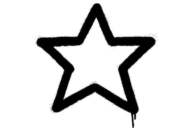 Graffiti spray icona a forma di stella con over spray in nero su bianco. illustrazione vettoriale.