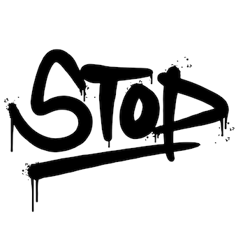 Parola di arresto dei graffiti spruzzata isolata su fondo bianco. graffiti spruzzati di carattere di arresto. illustrazione vettoriale.