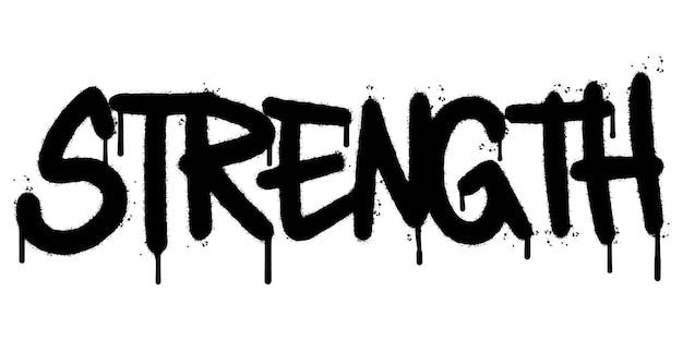Parola di forza dei graffiti spruzzata isolata su priorità bassa bianca. graffiti di carattere spruzzato di forza. illustrazione vettoriale.