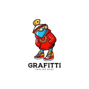 Grafitti mascotte vernice spray splatter urbano drip doodle