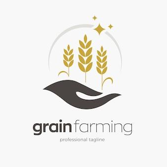 Modello di logo per l'agricoltura del grano