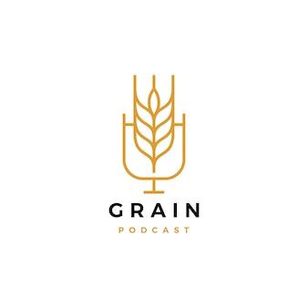 Icona del logo del podcast del grano per il canale del video vlog del blog di cibo