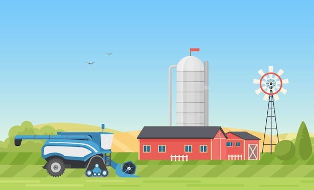 Fattoria di stoccaggio del silo di grano o cortile moderno del ranch con fattoria nel paesaggio del villaggio