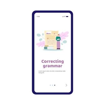 Illustrazione vettoriale piatta dello schermo dell'app per la correzione grammaticale e l'editor di incantesimi