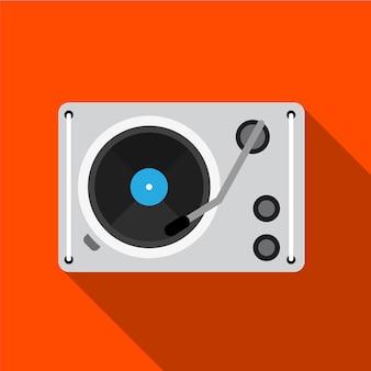 Grammofono piatto icona illustrazione vettoriale isolato segno simbolo