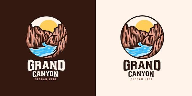 Modello di logo emblema del grand canyon
