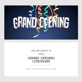 Banner di inaugurazione, illustrazione, carta di invito. invito festivo modello con testo per la cerimonia di apertura