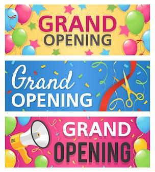 Grande apertura banner design illustrazione