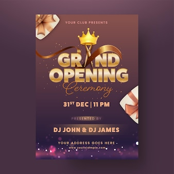 Design flyer cerimonia di grande apertura con dettagli evento