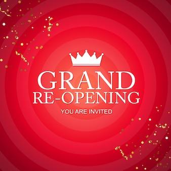 Carta di congratulazioni di grande apertura con coriandoli dorati