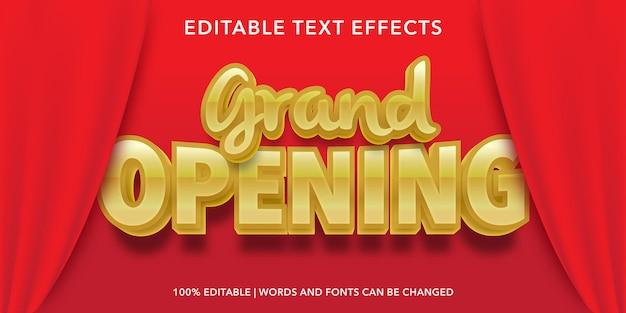 Effetto di testo modificabile in grande apertura