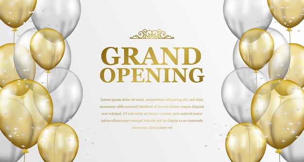 Lusso elegante di grande apertura con celebrazione della festa con cornice a palloncino trasparente dorato e argento volante