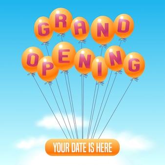 Illustrazione di grande apertura, sfondo per il nuovo negozio, club, ecc. con palloncini. poster modello, banner, flyer, elemento di design per eventi di apertura