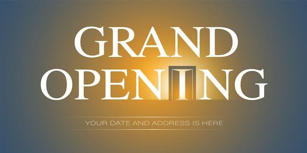 Illustrazione di grande apertura. banner modello, per evento di apertura