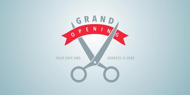 Illustrazione di grande apertura con le forbici che tagliano il nastro rosso. banner modello per la cerimonia di apertura