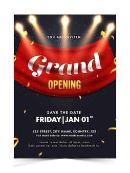Invito in grande apertura, design volantino con dettagli dell'evento