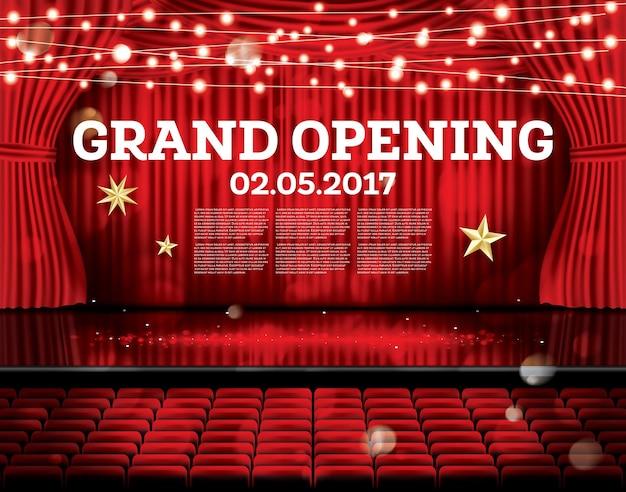 Grande apertura. tende rosse aperte con luci al neon. illustrazione di vettore. teatro, opera o scena cinematografica.