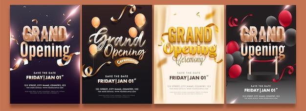 Volantino festa di inaugurazione o layout del modello di invito in quattro opzioni