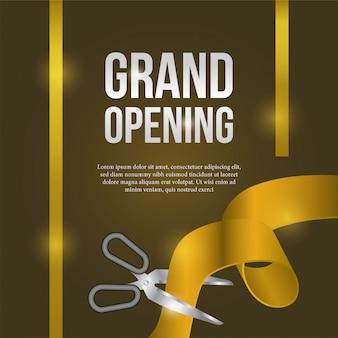 Evento di poster di inaugurazione con taglio del nastro in oro