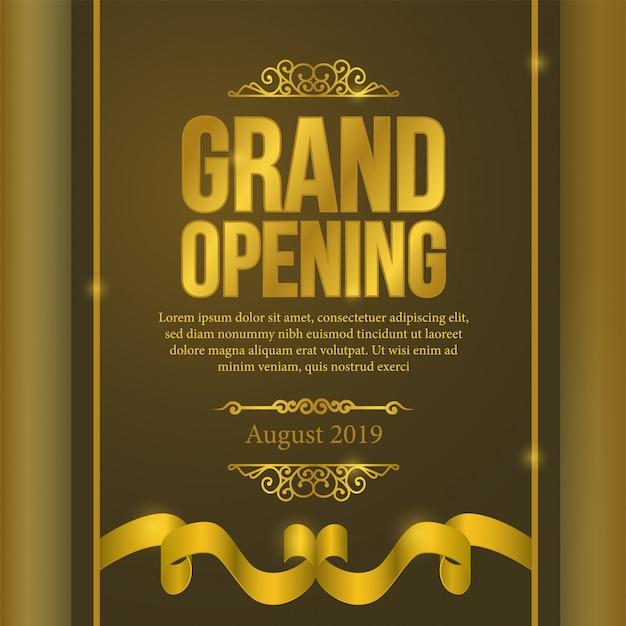 Evento di grand opening poster con nastro d'oro